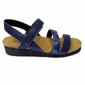 NEW Naot 39 8 N Navy Blue Pebble Leather Kayla